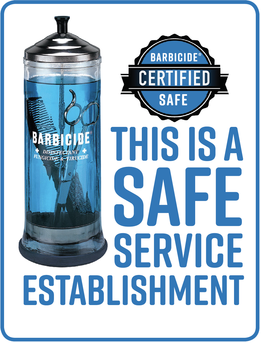 Barbicide Certified Safe Service Establishment